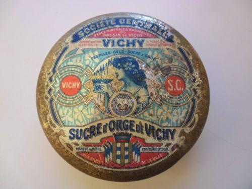 boite ancienne tole, VICHY, sucre d'orge