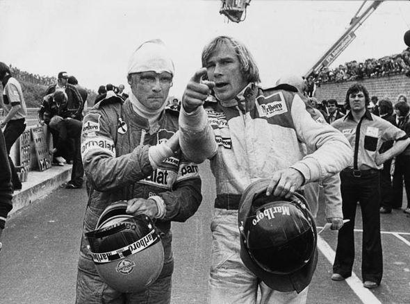 Hunt & Lauda post accident - Belgium