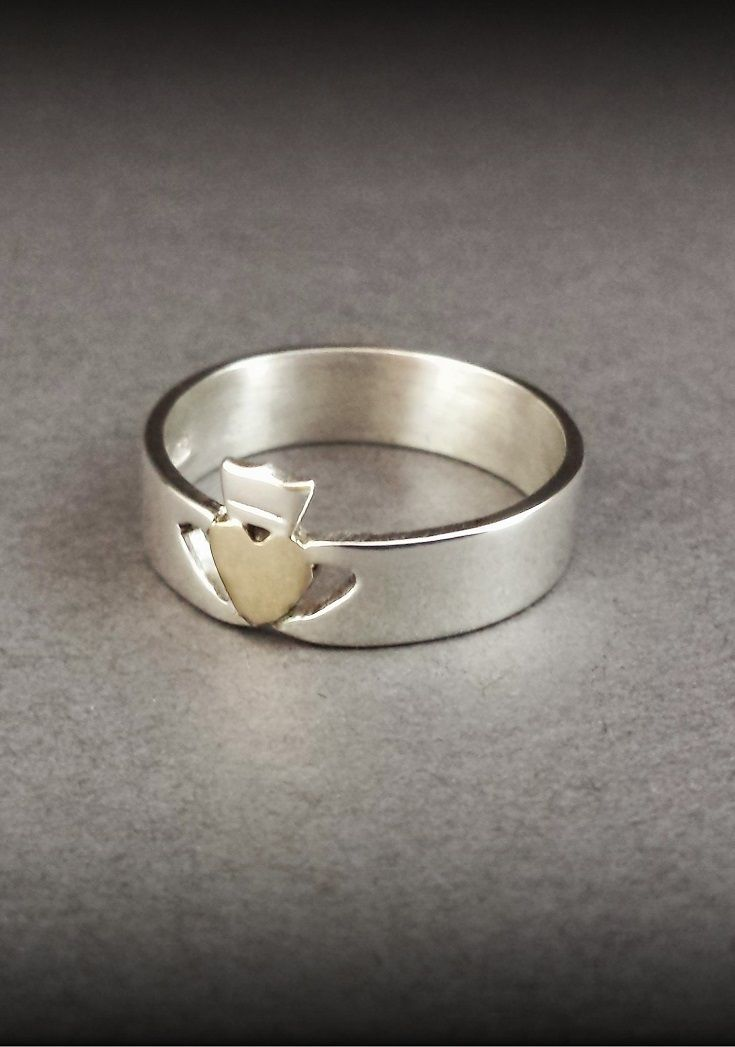 Custom designed Contemporary minimalist Claddagh Ring design created by our silversmith - Gold Heart crowned & held by two White Gold hands. Contact us to discuss a truly one off piece of handmade Irish jewelry @ Claddagh Design