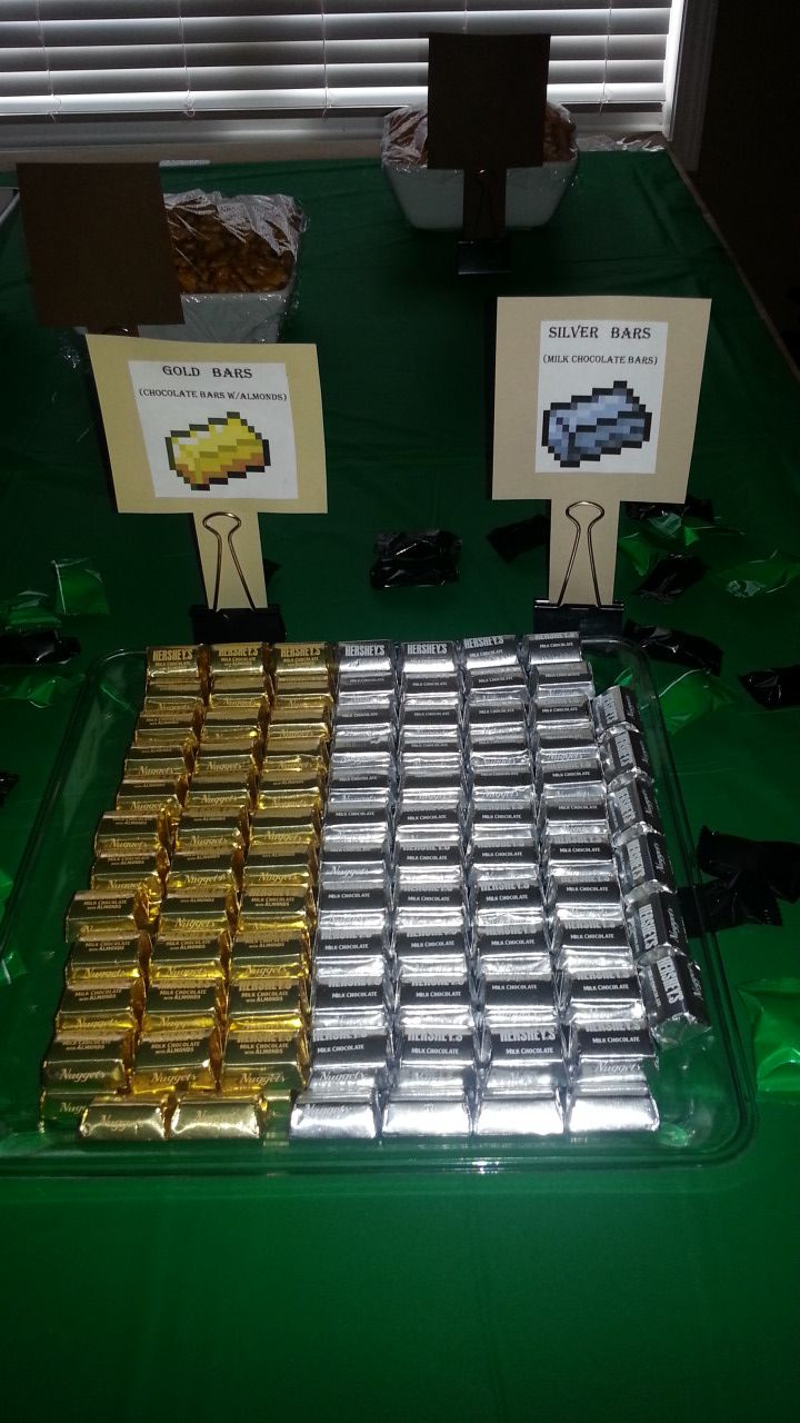 Minecraft party ideas. Gold and silver (or iron) bars