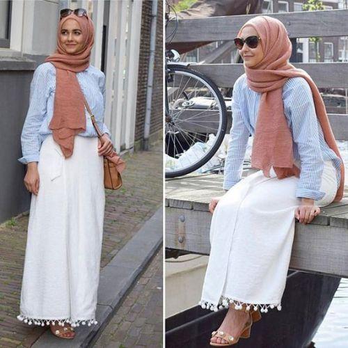 white skirt simple hijab- Fashionista hijab trends http://www.justtrendygirls.com/fashionista-hijab-trends/