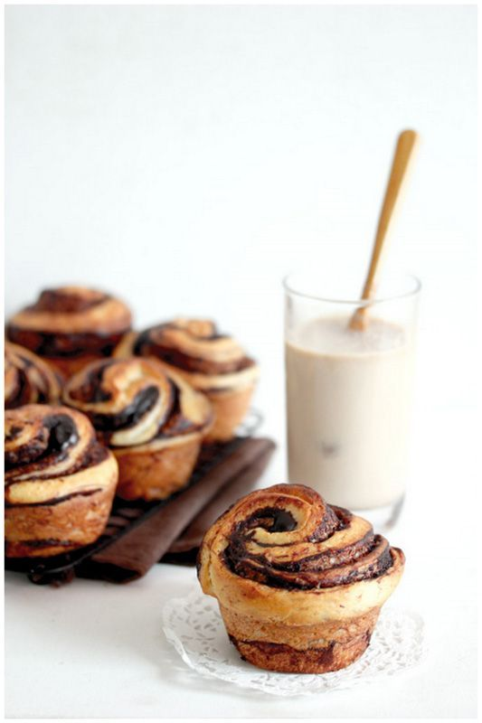 Chocolate Brioches - using this recipe, substitute Valrhona cocoa powder for the matcha powder