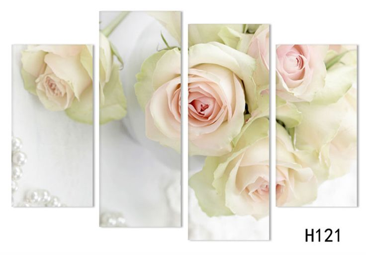 4 panels/set white rose Flower Large HD Picture Modern Home Wall Decor Canvas Print Painting For House Decorate free shipping