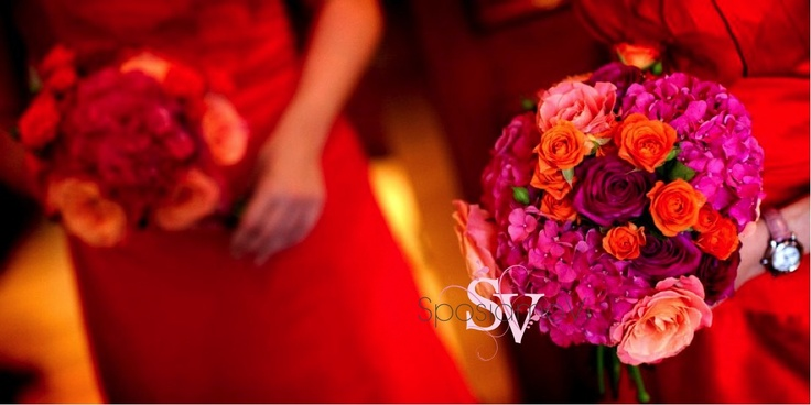 Hot pink, tangerine and red bouquets