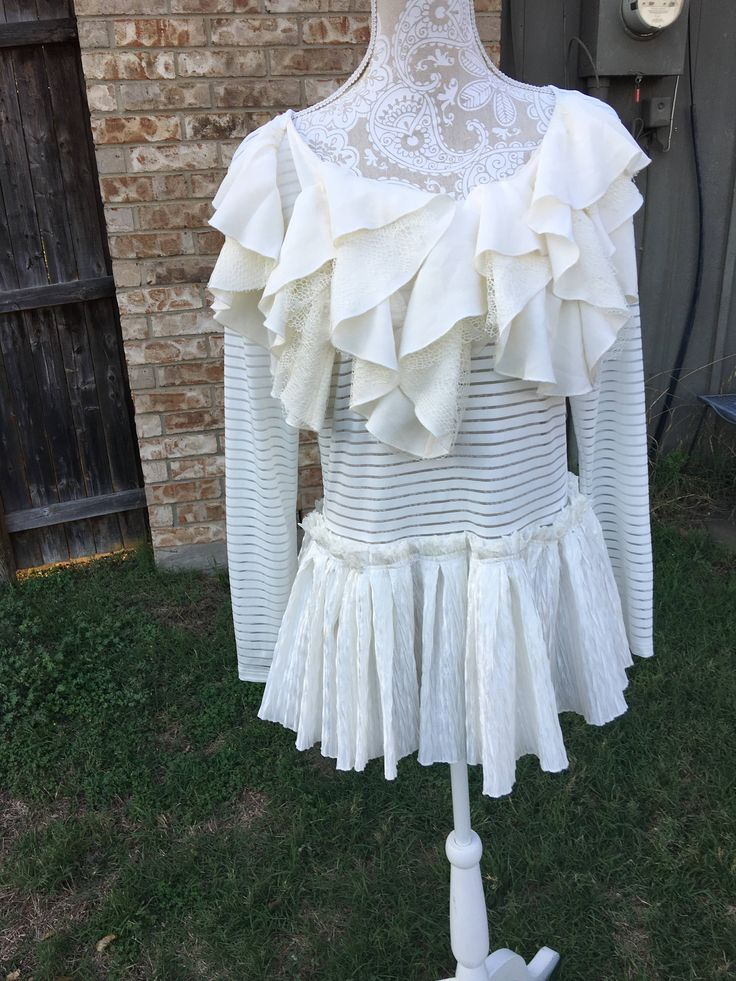Altered women's polyester white stripped sheer stripped tunic, Large ruffled collar,Altered Couture, Med/Large, Shabby Chic, Romantic Blouse by CrossMyHeartBags on Etsy