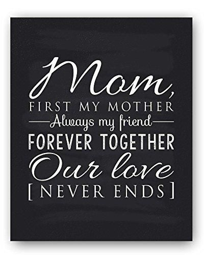 """Mom Poem Chalkboard Print by Ocean Drop Photography (8x10"""") - Thoughtful Gift for Mom and the Perfect Mother's Day Gift - Beautiful Black and White Typography Artwork - Ready to Hang Hanger Included"""