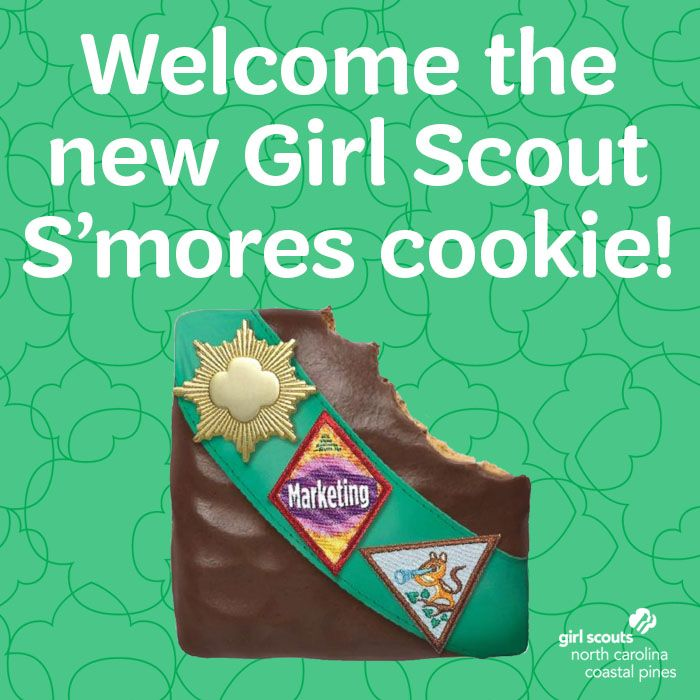 EXCITING GIRL SCOUT COOKIE NEWS! In celebration of 100 years of Girl Scouts selling cookies, a new Girl Scout Cookie has been added to the lineup. A graham cracker cookie, dipped once, no TWICE in a yummy crème icing and covered in a chocolate coating -- meet Girl Scout S'mores cookie