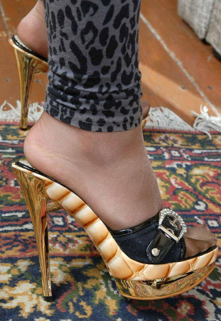 "Pretty mules with beautiful nylon covered toes and great ""heels"" So hot!"