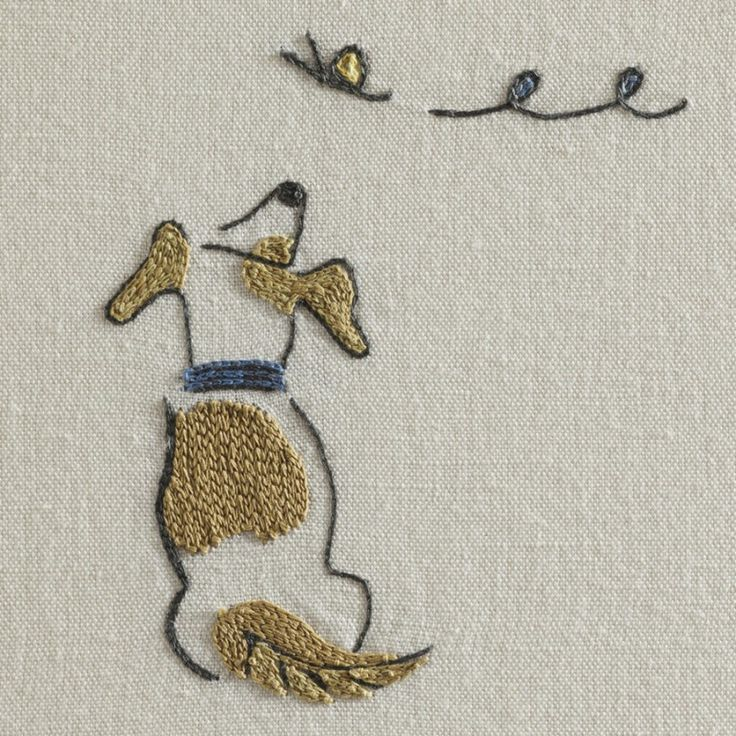 Chelsea Textiles  DOGS CHASING BUTTERFLIES BY DOMENICA MORE GORDON Hand embroidered fabric