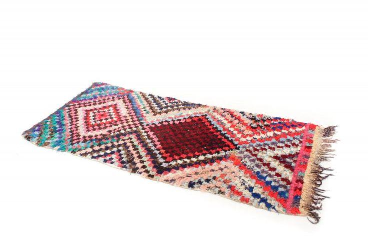 Marokkanische Berber Teppich Boucherouite 245 x 100 cm