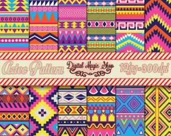 12 Lovely Aztec Pattern Digital Paper Ikat by DigitalMagicShop