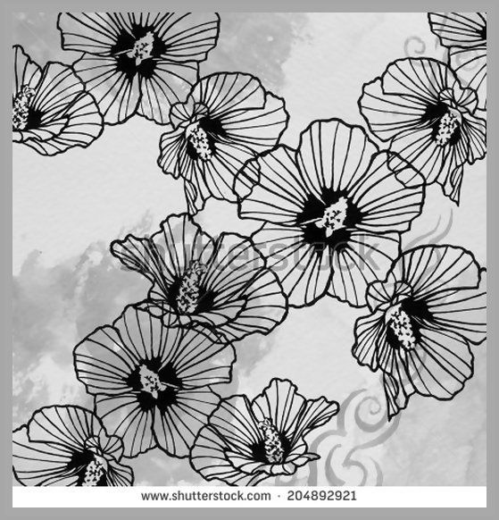 Abstract rose of sharon art design element on light gray watercolor background, artsy lines in petals, flower design hand drawn art in black ink, flower background pen and ink drawing, monochrome tone