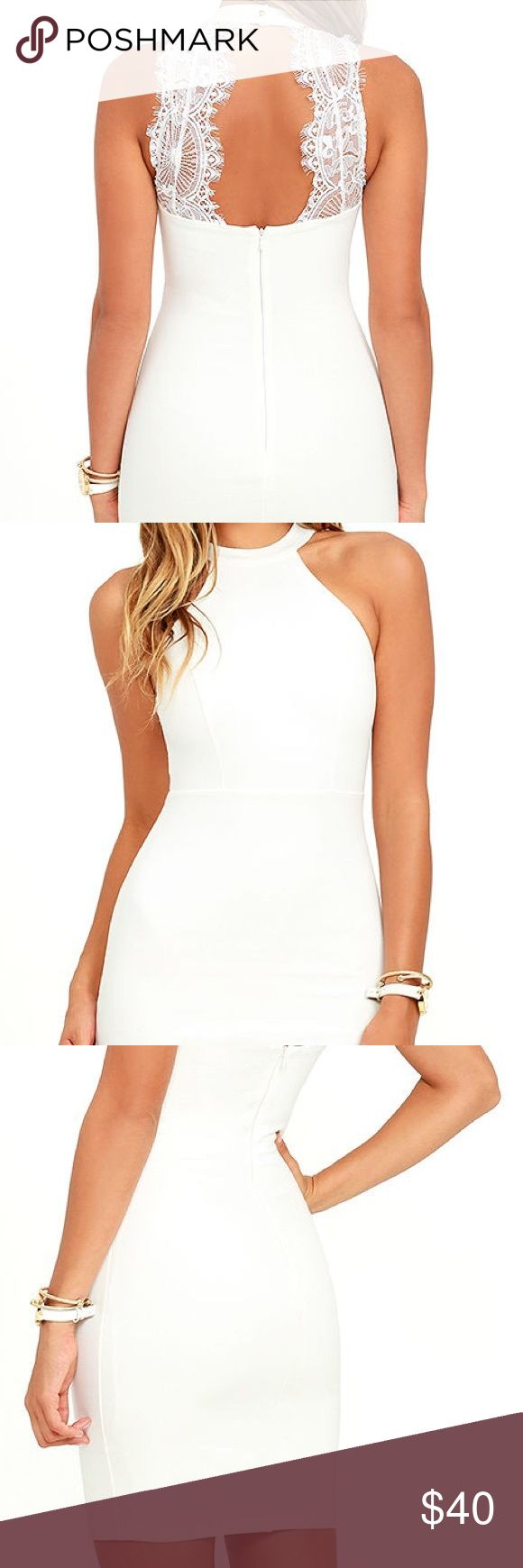 """""""Endlessly Alluring White Lace Bodycon Dress"""" White body con dress. Stretchy fabric. Halter neckline. Fully lined. Mid thigh length.  *Never worn* Lulu's Dresses Mini"""