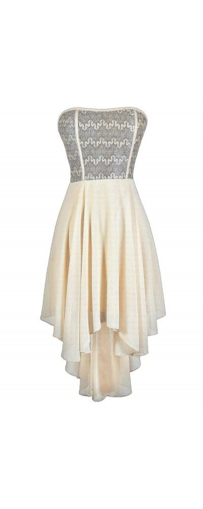 Squiggle Around High Low Dress in Ivory/Gold  www.lilyboutique.com
