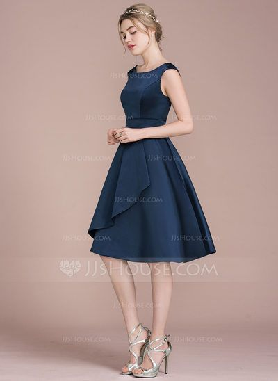 A-Line/Princess Scoop Neck Knee-Length Cascading Ruffles Zipper Up Cap Straps Sleeveless No Dark Navy Spring Summer Fall Winter General Plus Satin Height:5.7ft Bust:33in Waist:24in Hips:34in US 2 / UK 6 / EU 32 Bridesmaid Dress