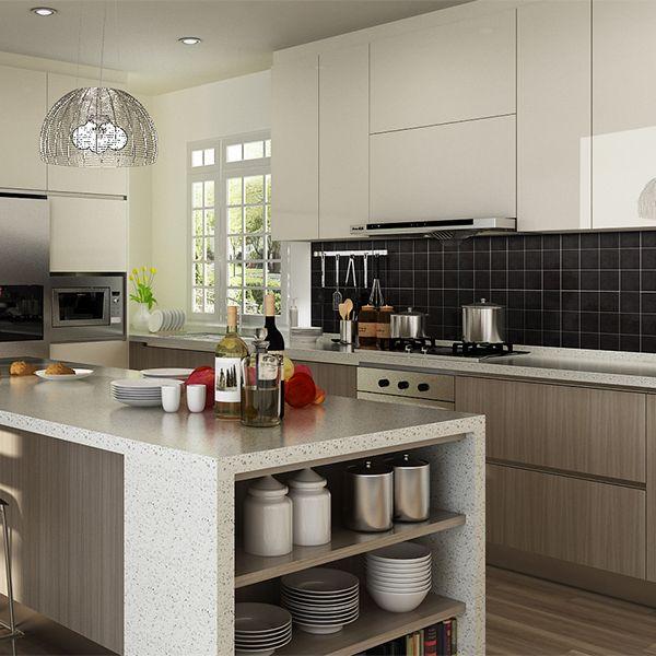Kitchen Cabinets, Melamine, Grey, OP14 M06