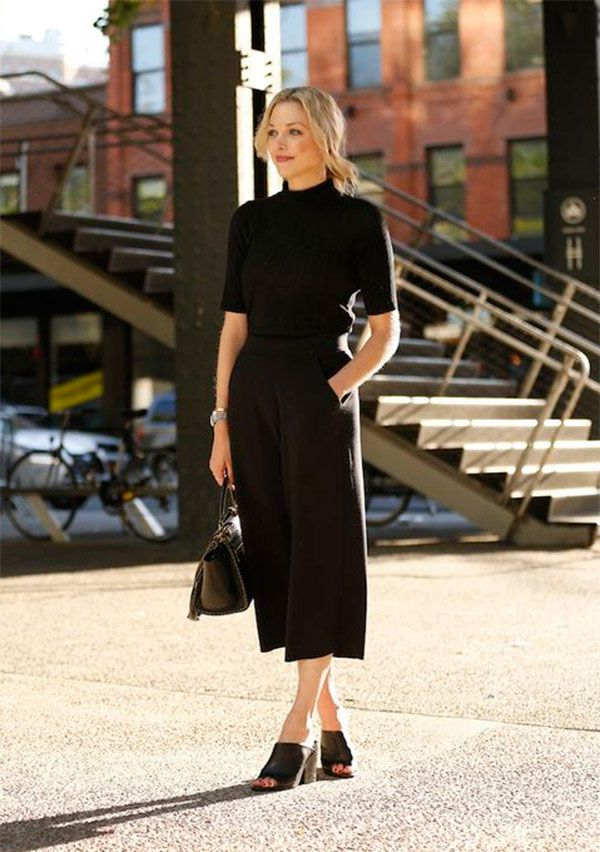 Street style look total black.