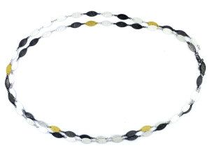 GURHAN WILLOW LEAF FLAKE NECKLACE 24KT GOLD AND BLACKENED SILVER $995