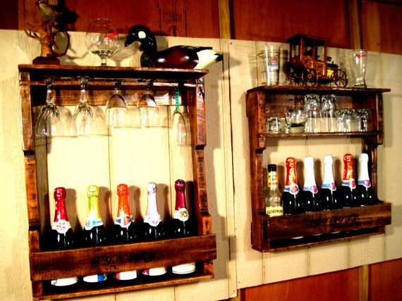 Wood Wine Liquor Home Mini Bar Pallet Rack by RusticNickNacknStuff