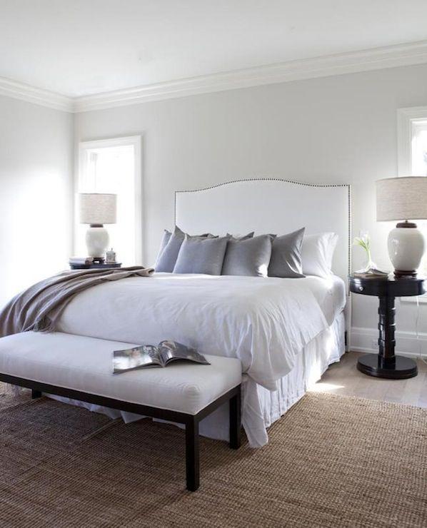 Bedrooms Silver Gray Paint White Camelback Headboard Brass Nailhead Trim Purple Pillows Black Pedestal Tables