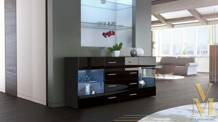 Sideboard Kommode Anrichte TV Board Bari V2 in Schwarz / Schwarz Hochglanz