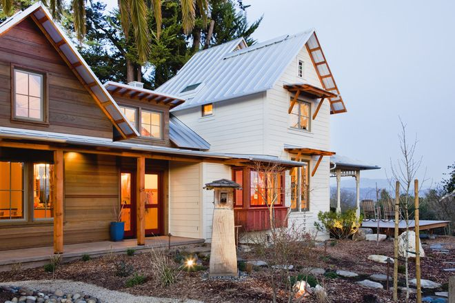 V groove cedar board siding and hardie board: rustic exterior by Arkin Tilt Architects