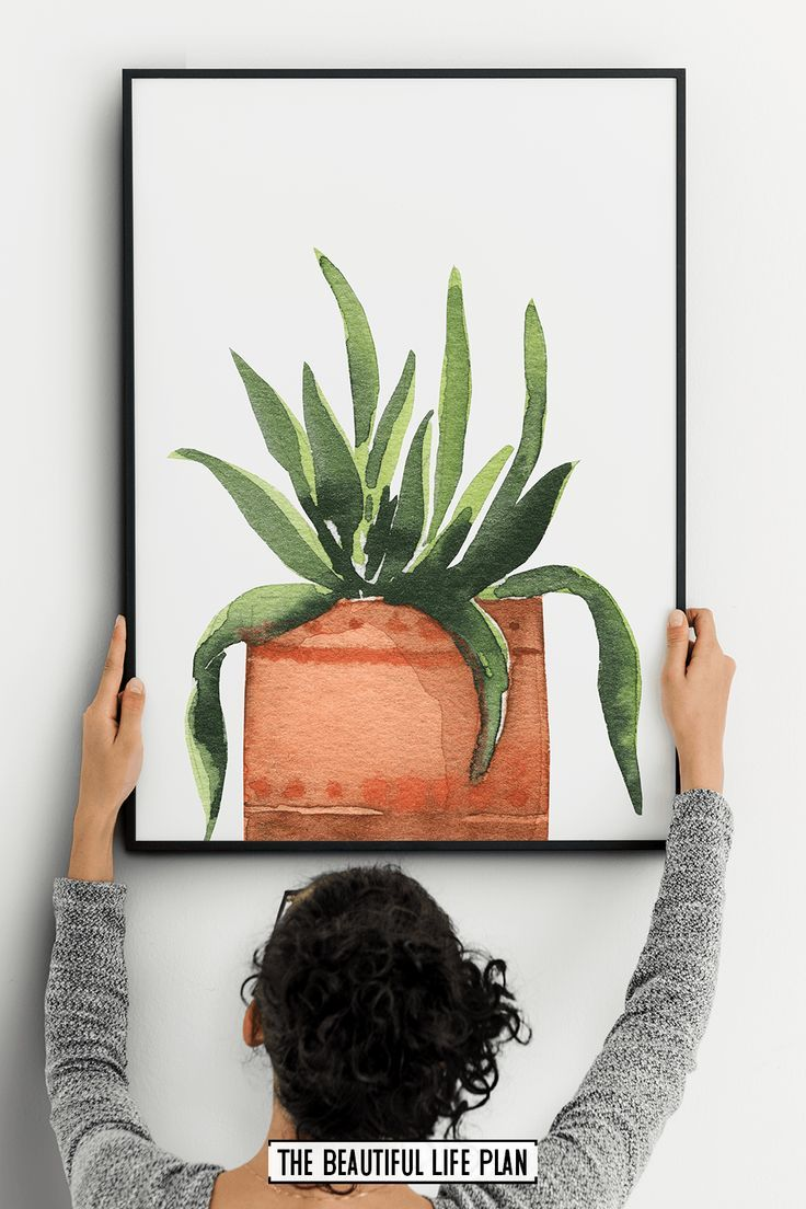Watercolor Plant Wall Art – Digital Download – — ETSY GROUP BOARD —