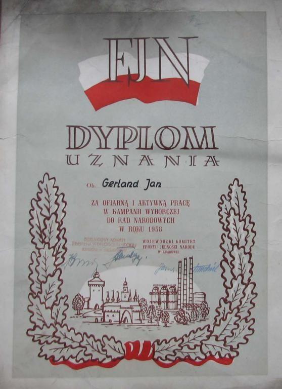 FJN .DYPLOM UZNANIA .1958
