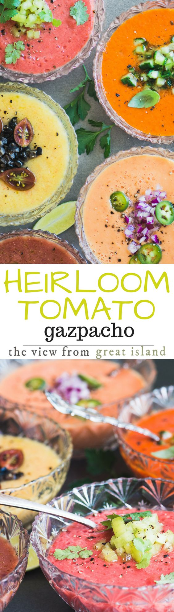 Today I'm making Heirloom Tomato Gazpacho ~ This chilled raw tomato soup from Spain has become a beloved summer institution in our house, and this year I've changed it up with gorgeous multi-colored heirloom tomatoes. | soup | chilled soup | Spanish | appetizer | summer | weddings | showers | entertaining |