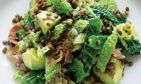 Savoy cabbage with avocado, lentils and bacon. Recipe by Hugh Fearnley-Whittingstall, guardian.co.uk