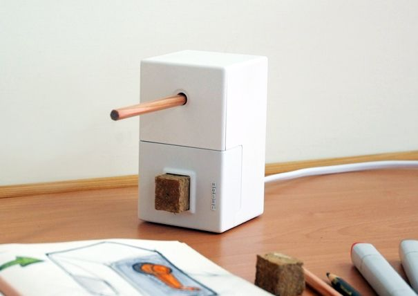 A pencil sharpener that recycles shavings into erasers, a simple concept that I adore indeed. This gets me thinking what else can be made from the waste of products we use, more to think on later...