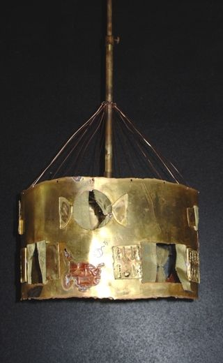 Handmade pendant lamp made by bronze, copper and brass net