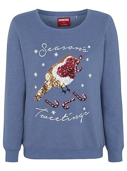 "Christmas Robin Sequin Sweatshirt, read reviews and buy online at George at ASDA. Shop from our latest range in Women. Drop some ""Seasons Tweetings"" this Chr..."