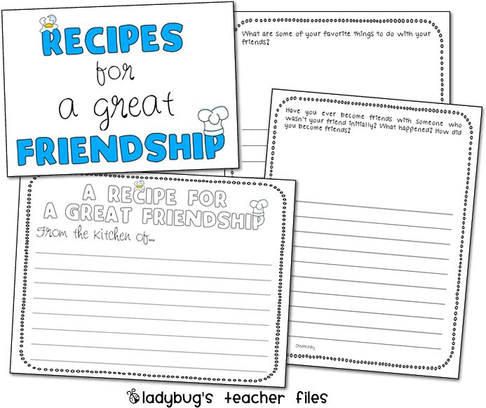 recipe for friendship writing activity