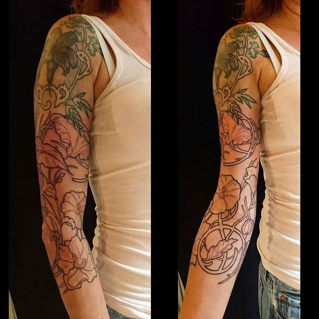 art nouveau 3 4 sleeve on jamaica by nancytattooer expanding an older piece with flowers and. Black Bedroom Furniture Sets. Home Design Ideas