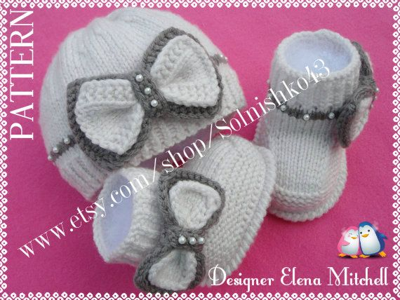 P A T T E R N Knitting Baby Set Baby Shoes Knitted por Solnishko42, $10.00