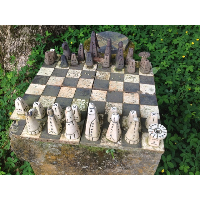Chess Set Made Of Ceramics Found In The Front Yard Of An Old Estate In The