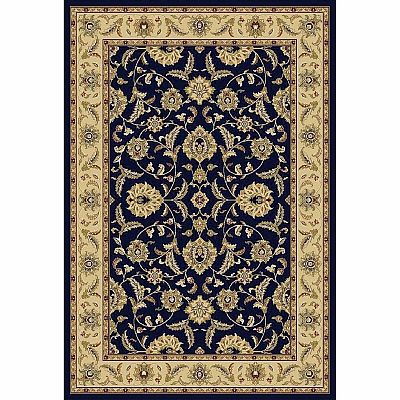 Persian carpet with traditionally flowery pattern 'Blue Flower Jamal' rug