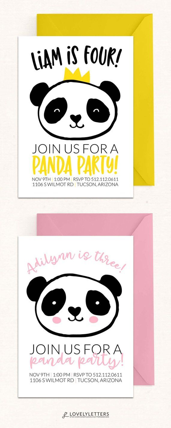Panda Party Invitation Birthday DIGITAL
