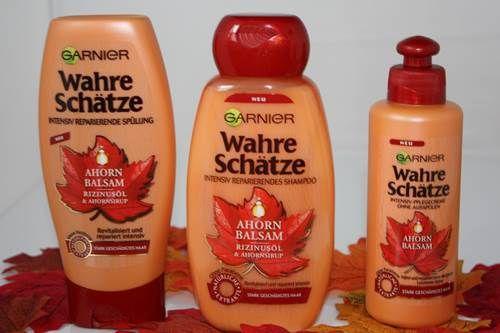 """Colorationen, Styling und Umwelteinflüsse können das Haar beanspruchen und auch schädigen. Es wird mit der Zeit matt, brüchiger und hat weniger Spannkraft.  Spätestens dann ist es soweit, das Haar intensiv zu pflegen, damit es sich regenerieren kann. Dafür soll die neue Wahre-Schätze Reihe """"Ahorn Balsam"""" von Garnier sorgen. #garnier #ahornbalsam"""