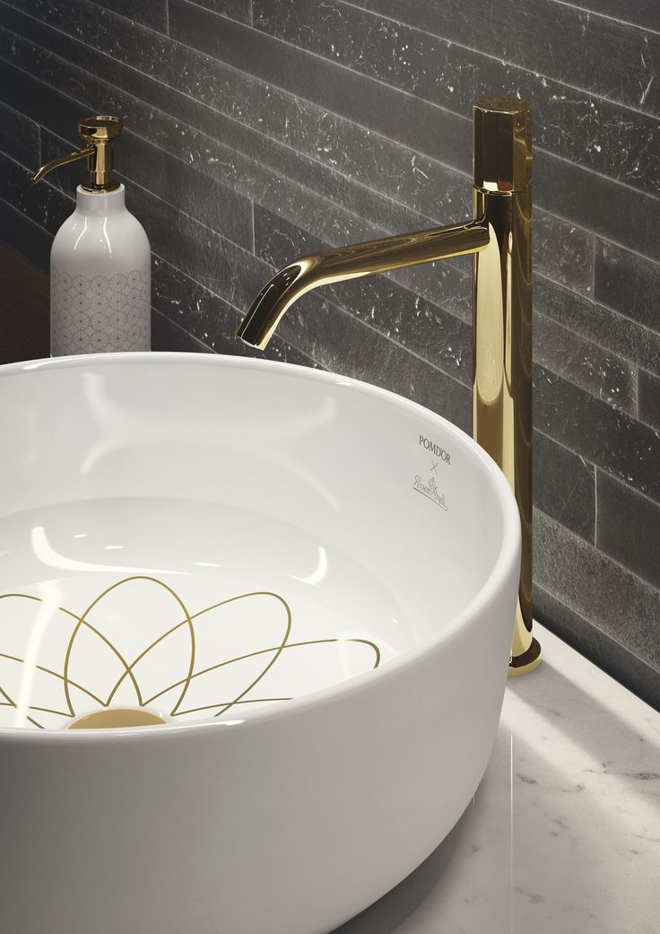 A slender #countertop  tap joint to #washbasin . #Equilibrium collection, designed by #edwardvanvlietofficial by #pomdorbathworld and #official_rosenthal.