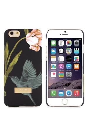 A beautiful hummingbird and a spring blossom color a vintage-inspired polycarbonate case designed to protect your iPhone against scuffs and scratches. Color(s): black multi. Brand: Ted Baker London. Style Name: Ted Baker London 'Dobos' iPhone 6 & 6s $39.9