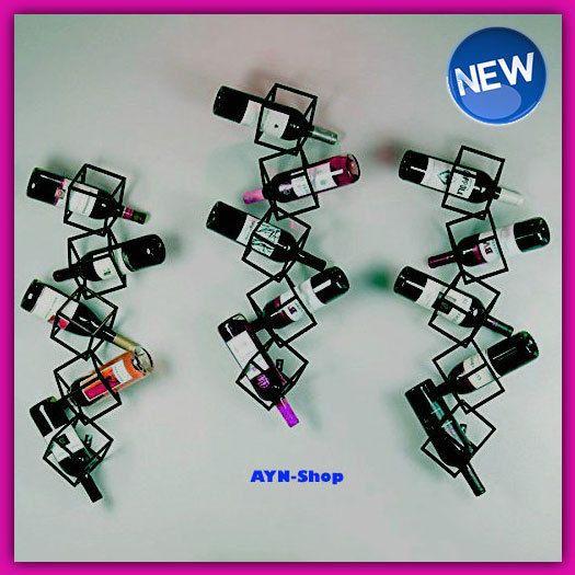 Metal Wine Rack 5 Bottle Holder Wall Mounted Hang Geometric Wire Cube Modern BL