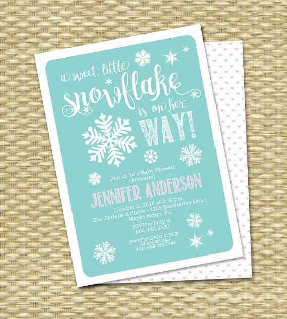 Little Snowflake Baby Shower Invitation By SunshinePrintables