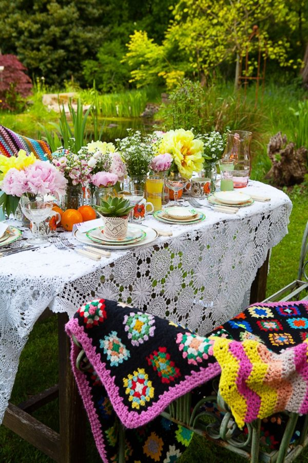 Bohemian Hippy Wedding Ideas Love The Knited Throw Blankets And Lace Table  Cloths W/ Wild Flowers Covering Table Perfect Boho Theme