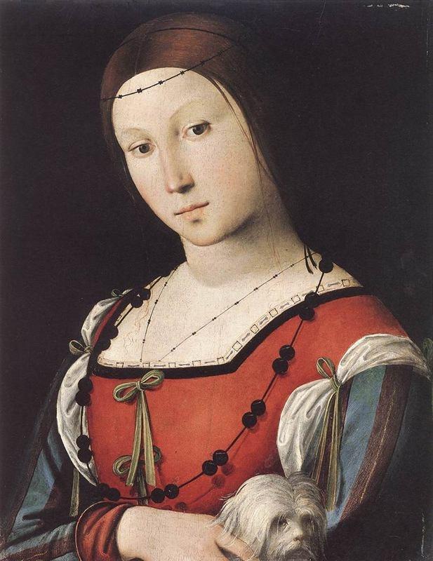 1500 Lorenzo Costa's Portrait of a Lady wears a Spanish style vestito (saya) and a Trinzale headress (coffia de tranzado)