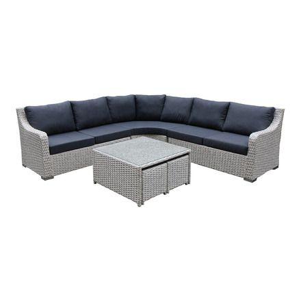 Set de jardín El Corte Inglés Casablanca: sofá de 3 piezas modulares + 1 mesa + 2 taburetes
