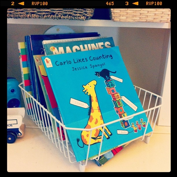 A simple Bunnings dish rack used as a book storage for a childs bedroom.