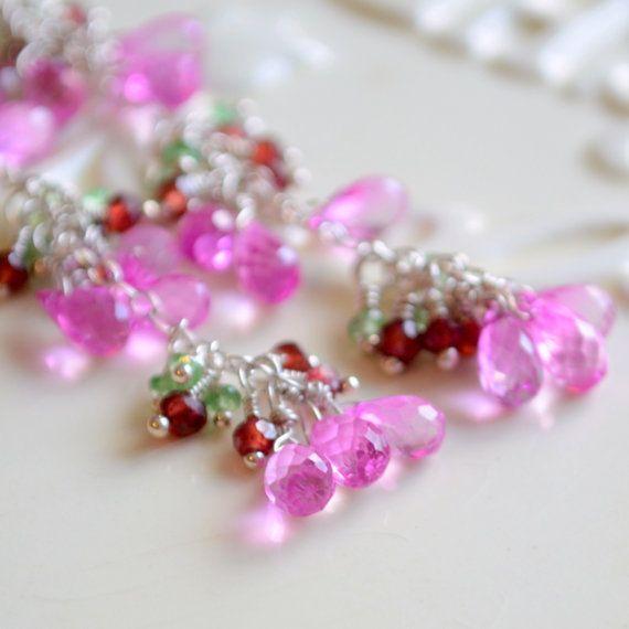 Pendientes largos caliente topacio rosa verde por livjewellery