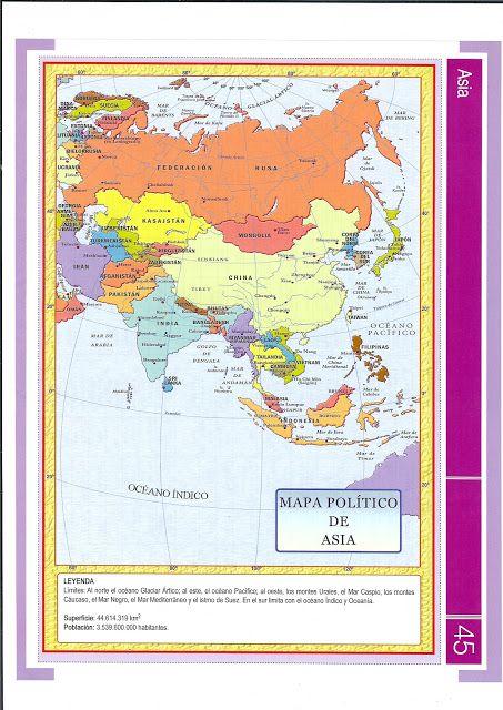 Asia: Países y capitales del continente asiático. Incluye mapa político.
